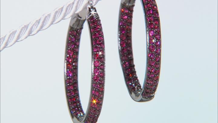 Purple Rhodolite Rhodium Over Silver Hoop Earrings 3.27ctw