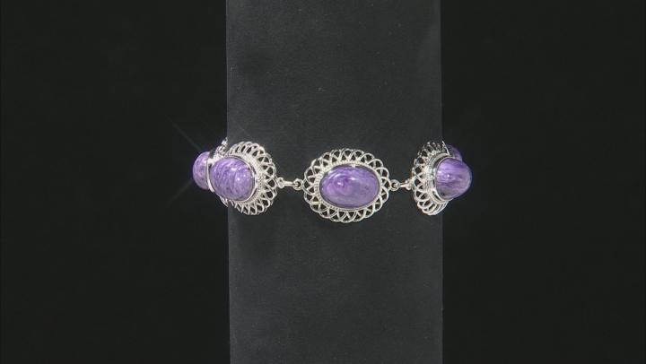 Purple Charoite Rhodium Over Sterling Silver Bracelet