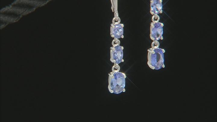 Blue Tanzanite Rhodium Over Silver Earrings 1.43ctw