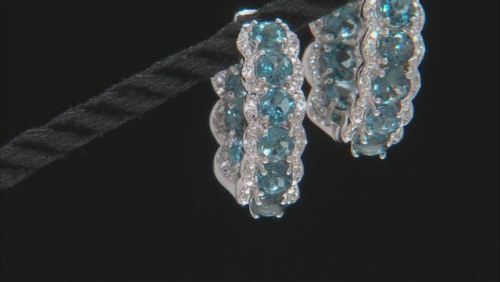 Blue Topaz Rhodium Over Silver Hoop Earrings 5.50ctw
