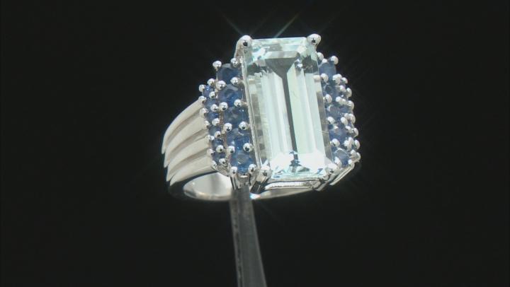 Blue aquamarine rhodium over sterling silver ring 5.37ctw