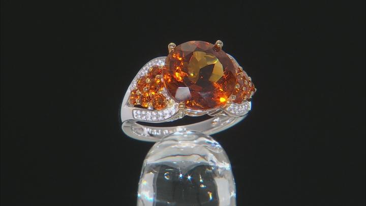 Orange Madeira Citrine Rhodium Over Sterling Silver Ring 5.39ctw