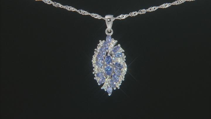 Blue Tanzanite Rhodium Over Silver Pendant With Chain 1.69ctw