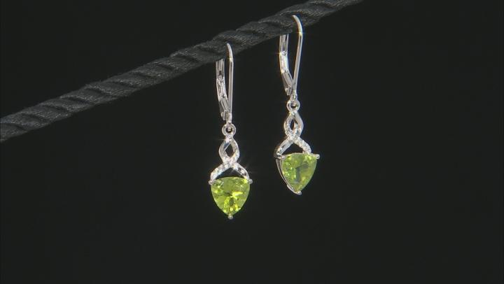Green Peridot Rhodium Over Silver Earrings 2.21ctw