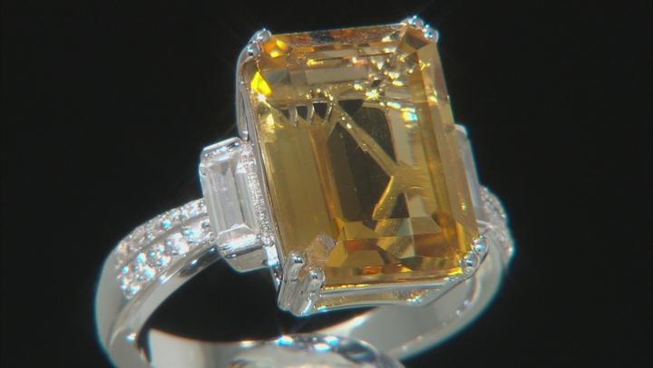 Yellow Citrine Rhodium Over Silver Ring 6.13ctw