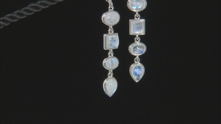 White rainbow moonstone rhodium over silver dangle earrings