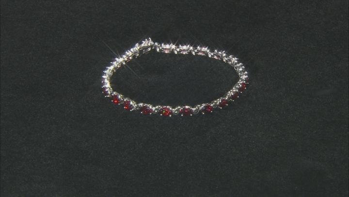 Red Garnet Rhodium Over Sterling Silver Bracelet 9.52ctw