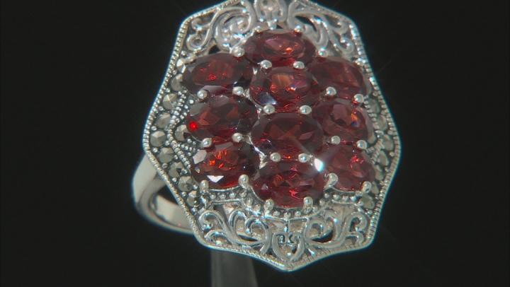 Red garnet rhodium over sterling silver ring 4.76ctw