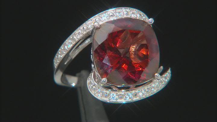 Red Labradorite Rhodium Over Silver Ring 5.95ctw