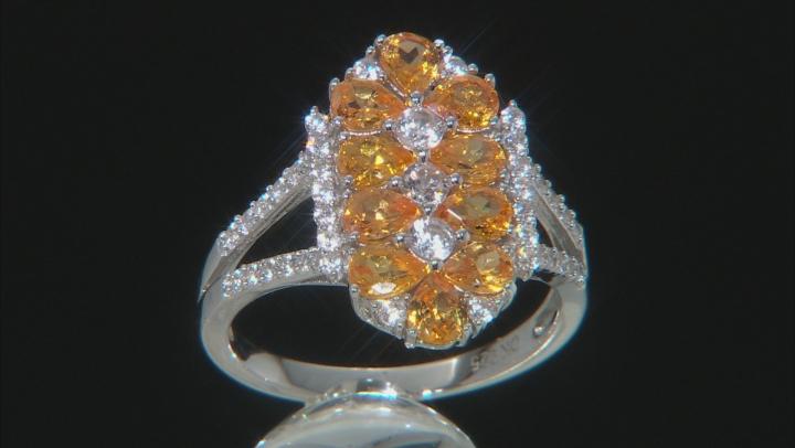 Orange Spessartite Rhodium Over Silver Ring 2.16ctw