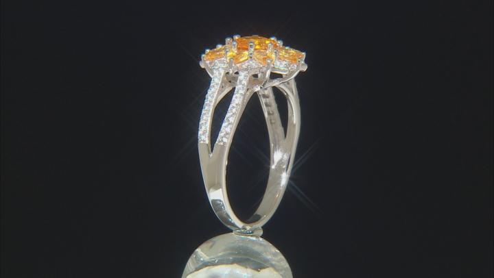 Orange Spessartite Rhodium Over Silver Ring 2.59ctw