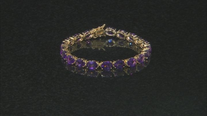 Purple Amethyst 18k Yellow Gold Over Silver Bracelet 22.10ctw