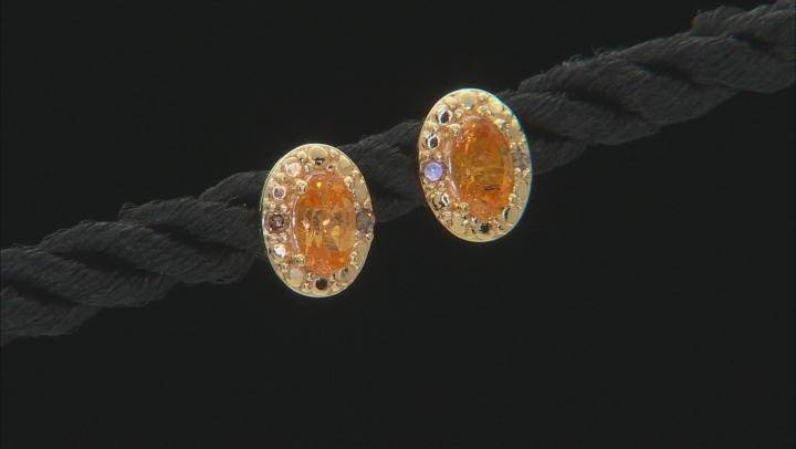 Orange Spessartite 18k Gold Over Silver Earrings .59ctw