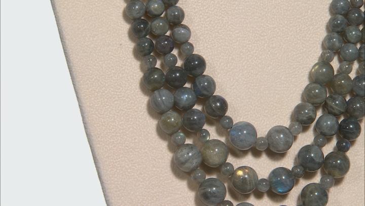 Gray labradorite  bead 3-strand rhodium over sterling silver necklace
