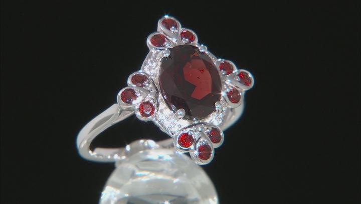 Red Garnet Rhodium Over Silver Ring 3.54ctw
