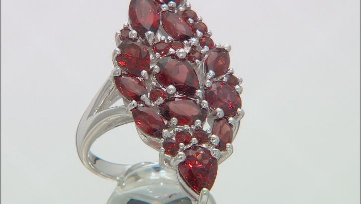 Red Garnet Rhodium Over Silver Ring 6.05ctw
