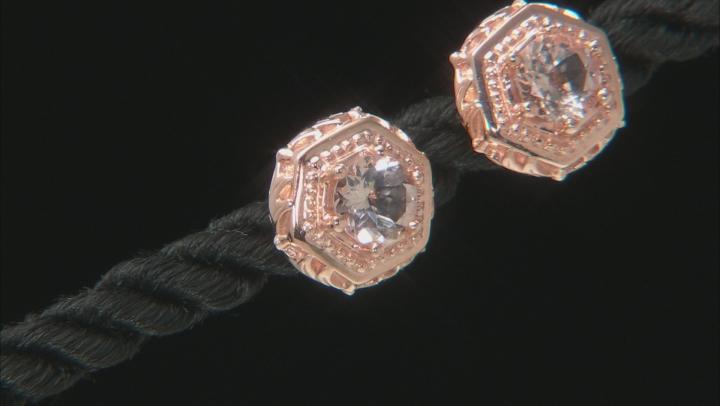 Pink morganite 18k rose gold over silver stud earrings .76ctw