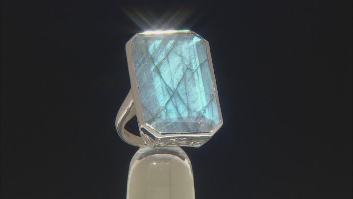 Gray Labradorite Rhodium Over Sterling Silver Ring