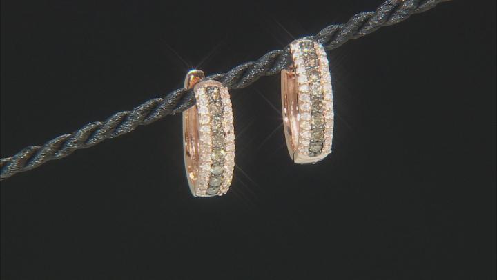 Champagne And White Diamond 10k Rose Gold Hoop Earrings .50ctw