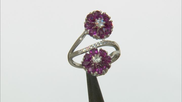 Purple Rhodolite Sterling Silver Ring 4.08ctw