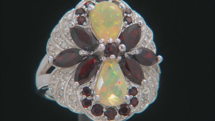 Womens Cocktail Ring Opal Red Garnet White Diamond 3.39ctw Silver