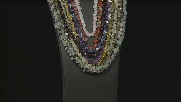 Multicolor Assorted Gemstone Nugget Necklace Set Of Ten