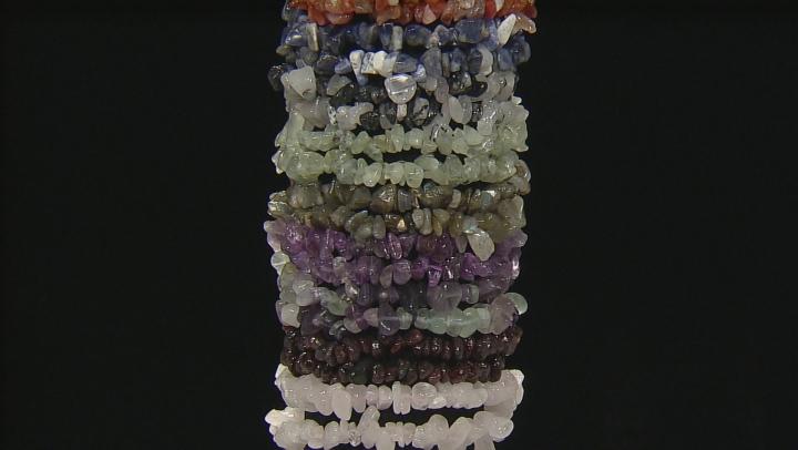 Multicolor Assorted Gemstone Nugget Stretch 20 Bracelet Set