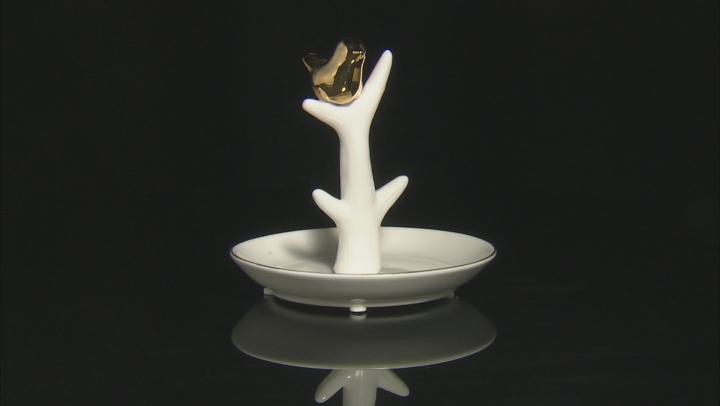 Ceramic Bird Ring Holder White With Gold Tone Trim