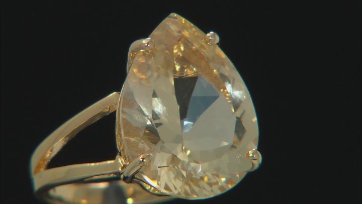 Yellow Labradorite 18k Gold Over Silver Ring 8.36ct