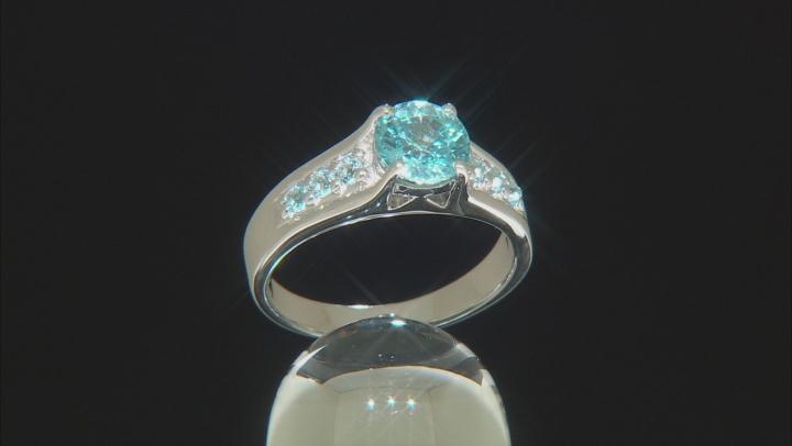Blue Zircon Rhodium Over Silver Ring 1.63ctw