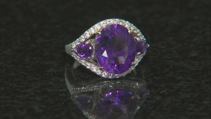 Purple amethyst rhodium over silver ring 5.99ctw