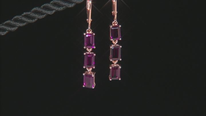 Purple Raspberry Color Rhodolite 18k  Rose Gold Over Sterling Silver Earrings 4.23ctw