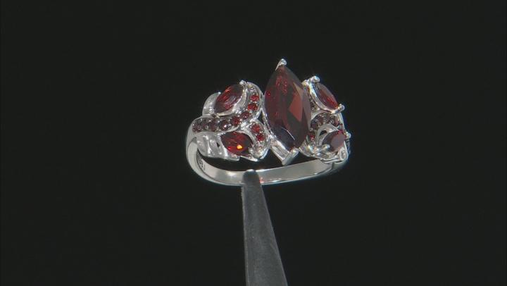 Red garnet rhodium over sterling silver ring 2.44ctw