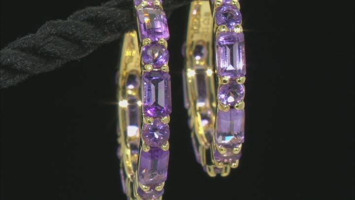 Purple Amethyst 18k Rose Gold Over Sterling Silver Hoop Earrings 4.19ctw