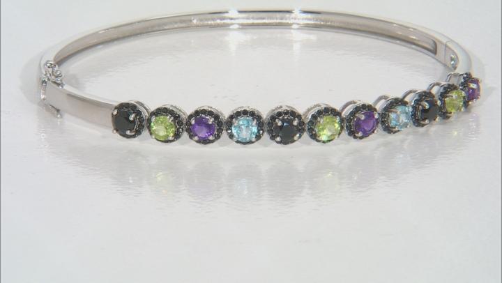 Multi-Color Gemstone Rhodium Over Silver Bracelet 3.24ctw