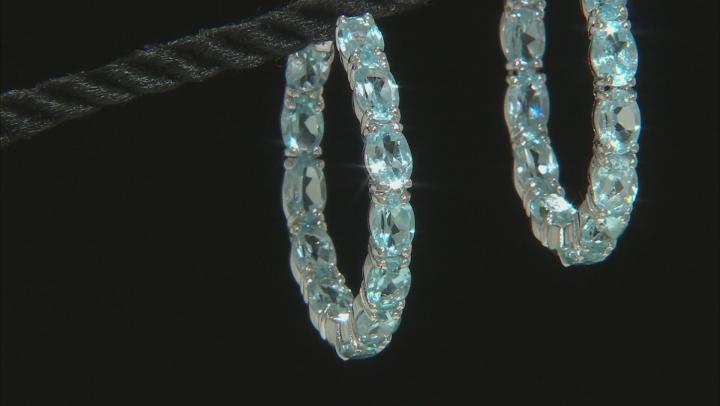 Sky Blue Topaz Rhodium Over Sterling Silver Inside Outside Hoop Earrings 11.83ctw