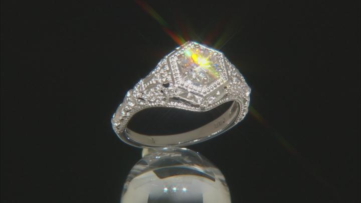 White Fabulite Strontium Titanate rhodium over sterling silver ring 1.10ct