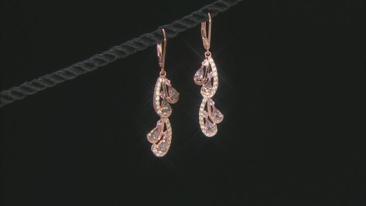 Pink Color Shift Garnet 18k Rose Gold Over Sterling Silver Dangle Earrings 2.34ctw