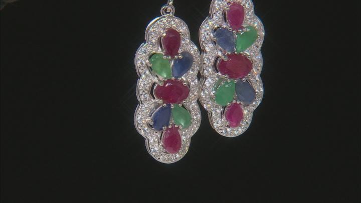 Multi-gem rhodium over sterling silver dangle earrings 4.29ctw