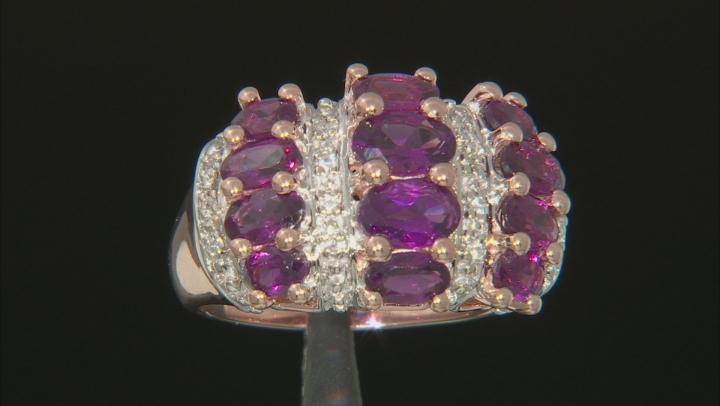 Raspberry Color Rhodolite 18k Rose Gold Over Sterling Silver Ring 2.96ctw