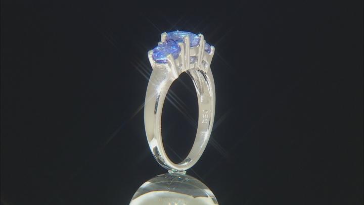 Blue Tanzanite Rhodium Over Sterling Silver 3-Stone Ring 1.65ctw