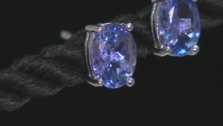 Blue Tanzanite Rhodium Over Sterling Silver Stud Earrings 1.45ctw