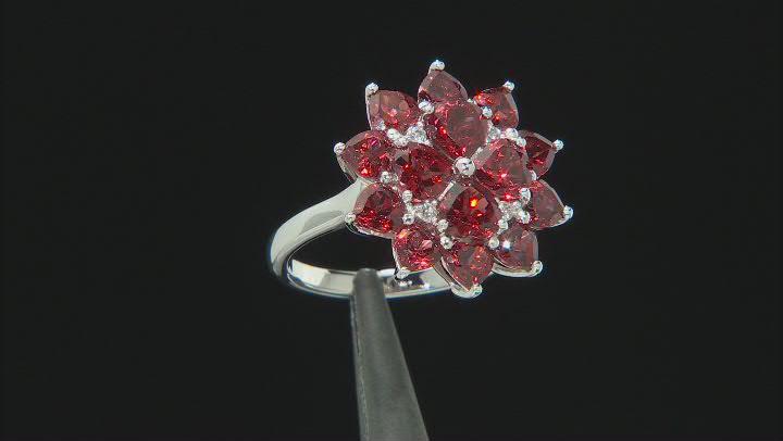 Red garnet rhodium over sterling silver ring 4.42ctw