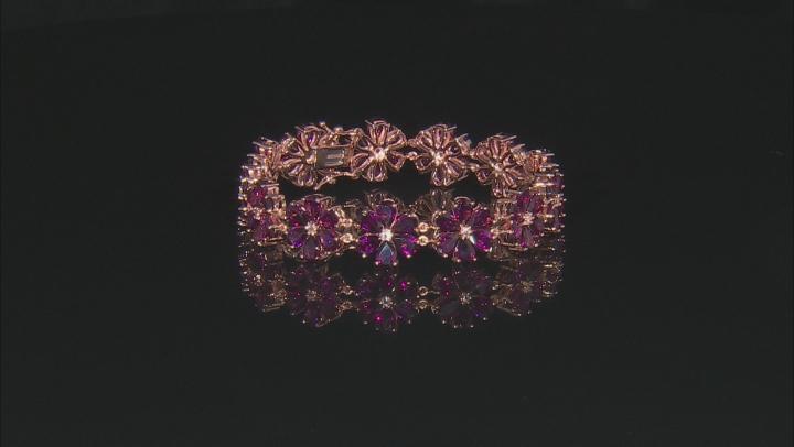 Rasberry color rhodolite 18k rose gold over silver bracelet 37.44ctw