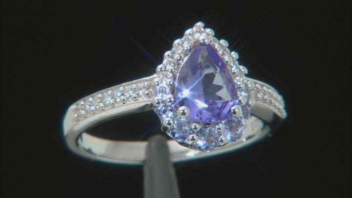 Blue tanzanite rhodium over silver ring 1.35ctw