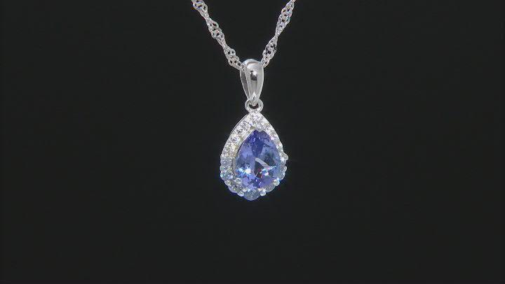 Blue tanzanite rhodium over silver pendant with chain 1.24ctw