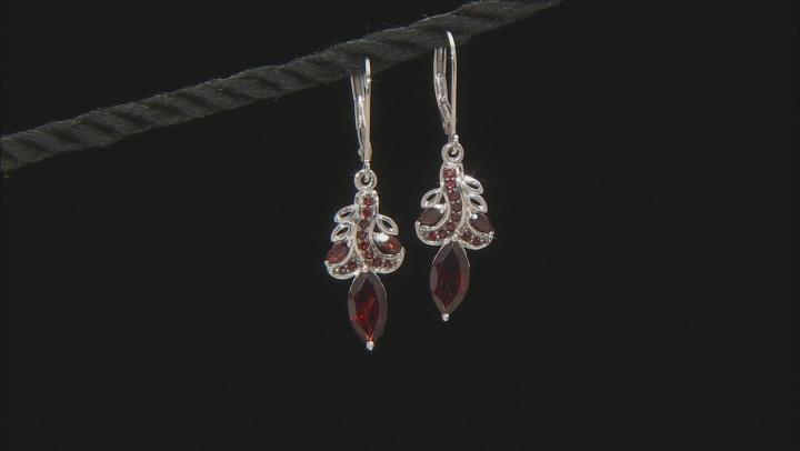Red Garnet Rhodium Over Sterling Silver Earrings 3.03ctw