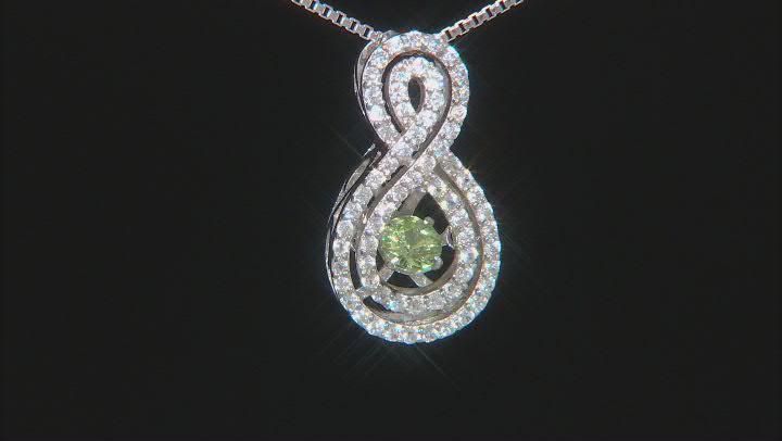 Green Dancing Demantoid Garnet Silver Pendant With Chain .58ctw