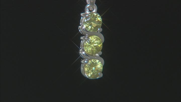 Green Demantoid Garnet Sterling Silver Pendant With Chain .69ctw