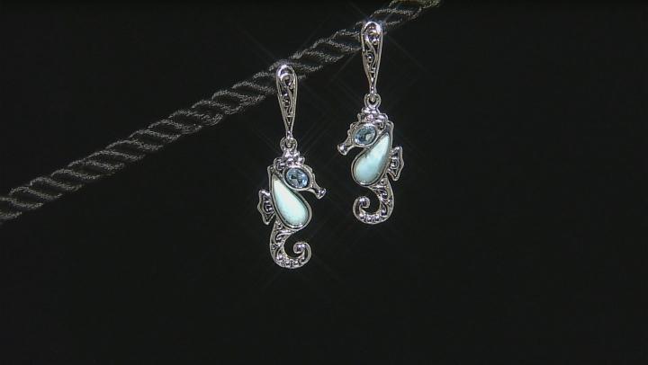 Blue Larimar Sterling Silver Seahorse Earrings .40ctw
